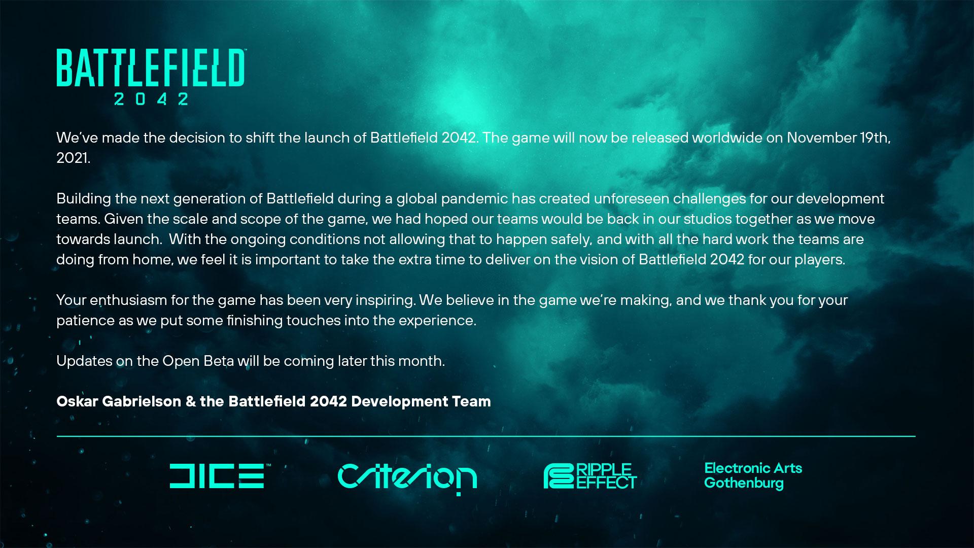 Battlefield 2042 blir en månad försenat