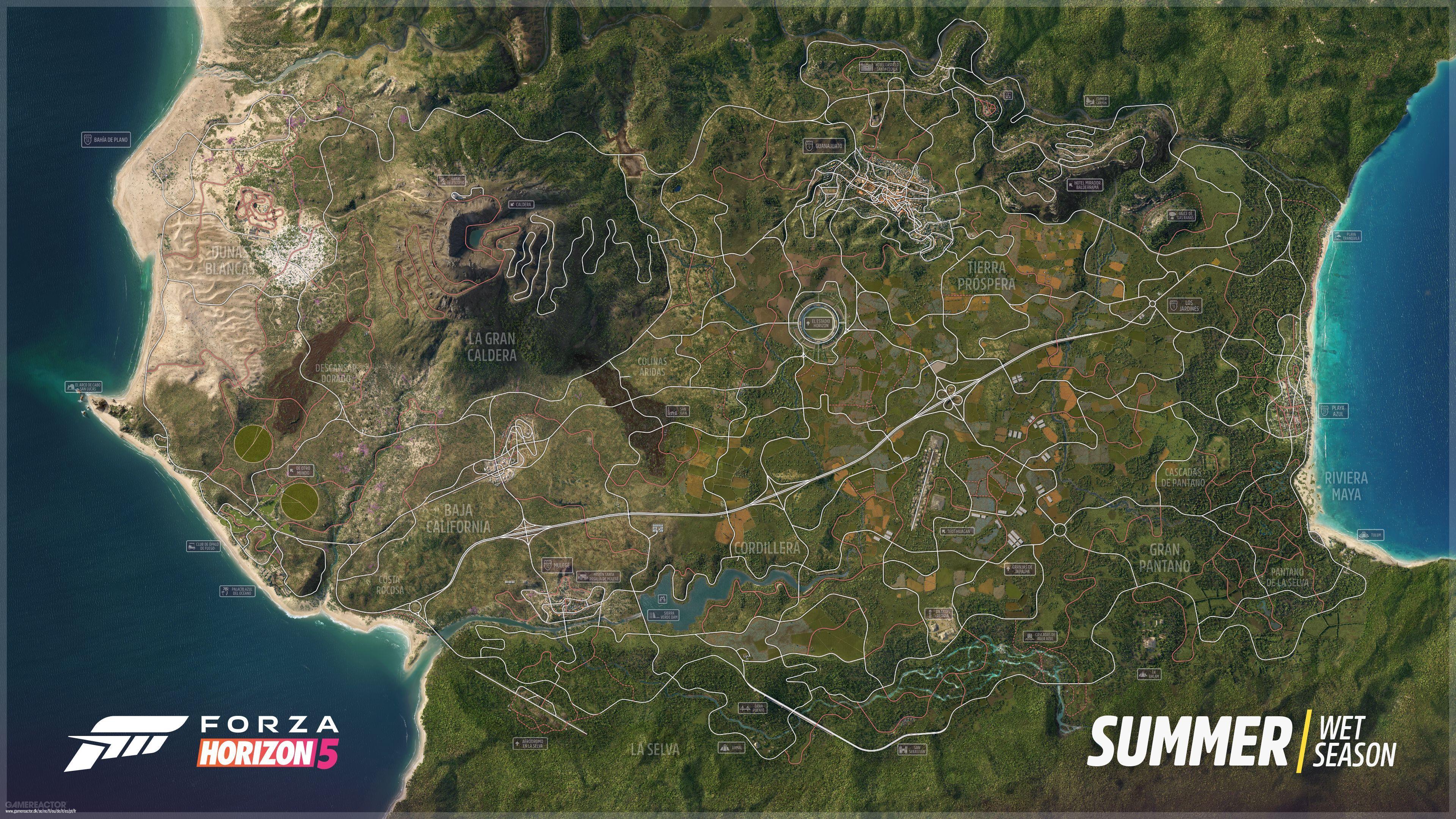 Här är sommarvärldskartan till Forza Horizon 5