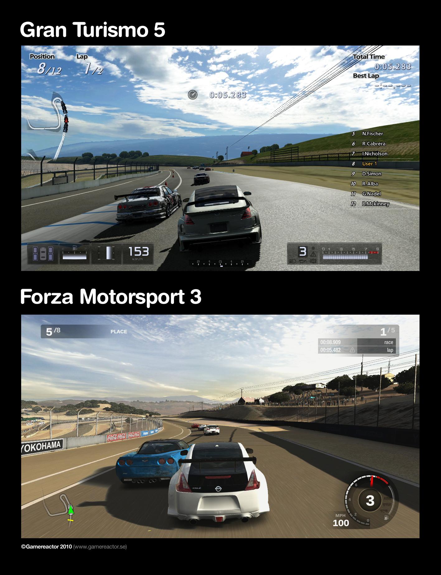 Forza 3 Vs GT5DIRECT FEED Graphics Comparison56k NO