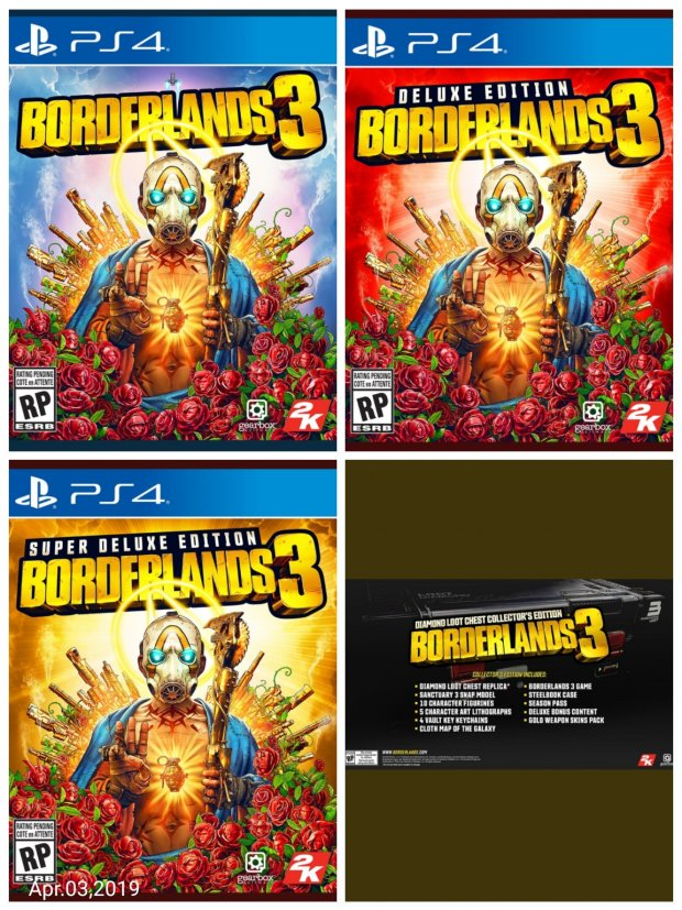 Borderlands 3 box art + Deluxe Edition + Super Deluxe Edition + Diamond Loo